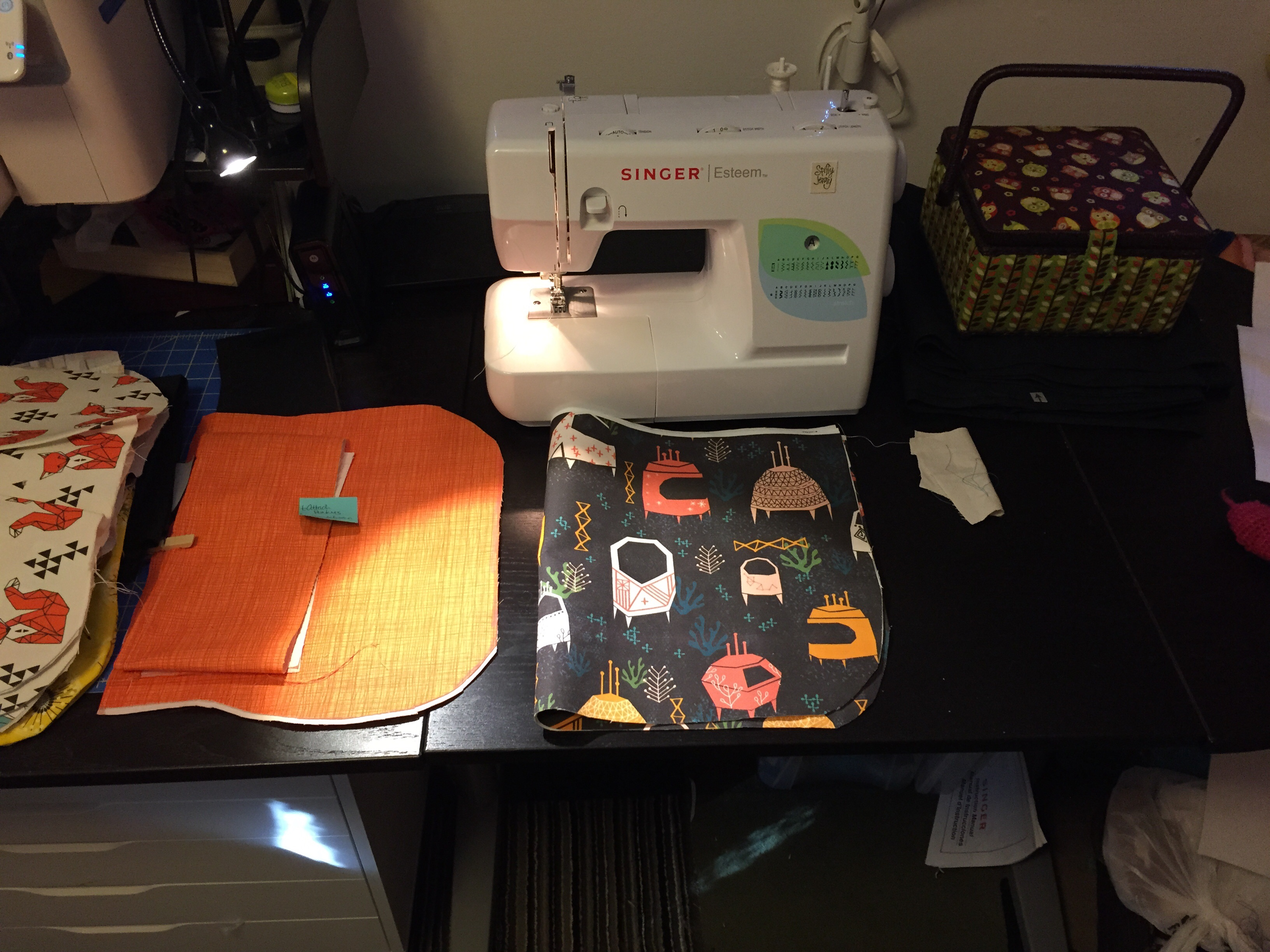 This is why my sewing table looks like when I get up for 30+ minutes, or to go to bed.